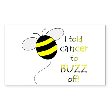 CANCER BUZZ OFF Rectangle Sticker