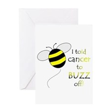 CANCER BUZZ OFF Greeting Card