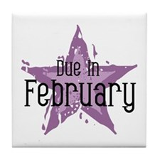Purple Star Due In February Tile Coaster