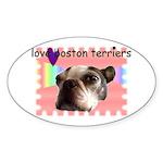 LOVE MY BOSTON TERRIER Oval Sticker