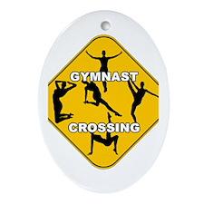 Gymnast Crossing Oval Ornament