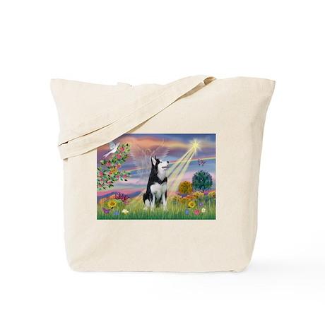 Cloud Angel & Siberian Husky Tote Bag
