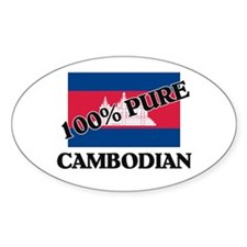 100 Percent CAMBODIAN Oval Decal