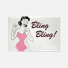 Bling Bling Diamond Ring Retro Rectangle Magnet