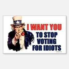 Stop Voting For Idiots Rectangle Bumper Stickers