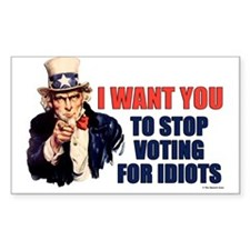 Stop Voting For Idiots Rectangle Decal
