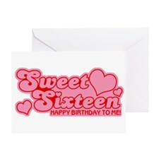 Sweet Sixteen Birthday Retro Greeting Card