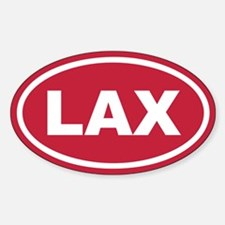 Red LAX Euro Oval Decal