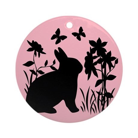 SPRING BUNNY SILHOUETTE Ornament (Round)