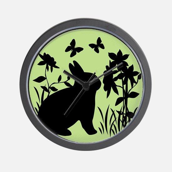SPRING BUNNY SILHOUETTE Wall Clock