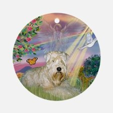 Cloud Angel & Wheaten Terrier Ornament (Round)
