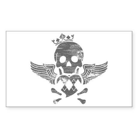 Winged Skull Rectangle Sticker