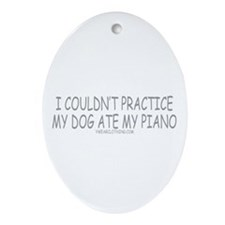 Dog Ate Piano Oval Ornament