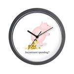 Incontinent Spending Piggy Bank Wall Clock