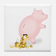 Incontinent Piggy Bank Tile Coaster