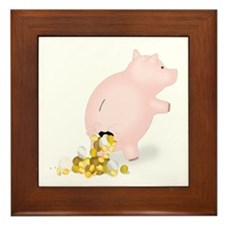Incontinent Piggy Bank Framed Tile