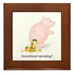 Incontinent Spending Piggy Bank Framed Tile