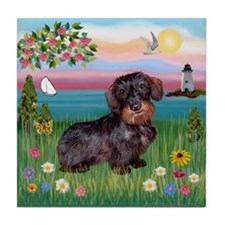 Lighthouse / Dachshund Tile Coaster