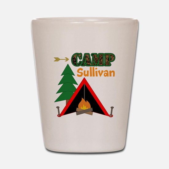 Tent Campfire Camping Name Shot Glass
