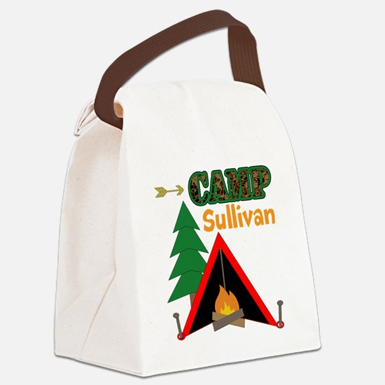 Tent Campfire Camping Name Canvas Lunch Bag