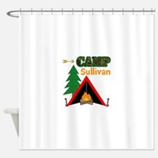 Tent Campfire Camping Name Shower Curtain