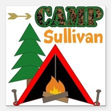 """Tent Campfire Camping Name Square Car Magnet 3"""" x"""