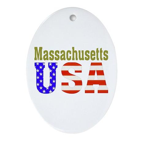 Massachusetts USA Oval Ornament