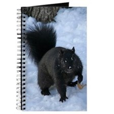 Black Squirrel In The Snow Journal