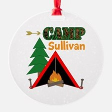 Tent Campfire Camping Name Ornament