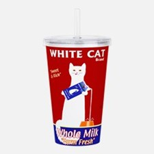 White Cat Milk Acrylic Double-wall Tumbler