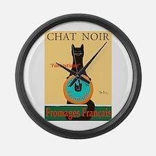 Chat Noir II (Black Cat) Large Wall Clock