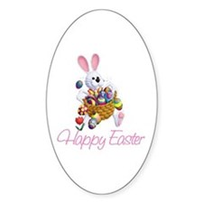 Happy Easter Bunny Oval Decal