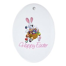 Happy Easter Bunny Oval Ornament