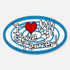 Hypno I Love My Skye Terrier Oval Sticker (Blue)