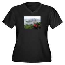 Pittsburgh Skyline Women's Plus Size V-Neck Dark T