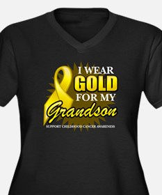 Gold For My Grandson Women's Plus Size V-Neck Dark