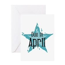 Blue Star Due In April Greeting Card