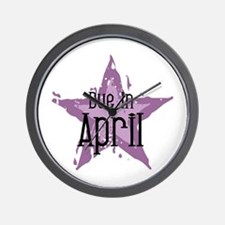 Purple Star Due In April Wall Clock