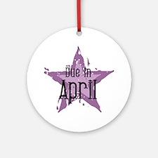 Purple Star Due In April Ornament (Round)