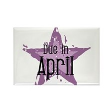 Purple Star Due In April Rectangle Magnet