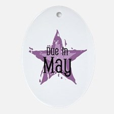 Purple Star Due In May Oval Ornament