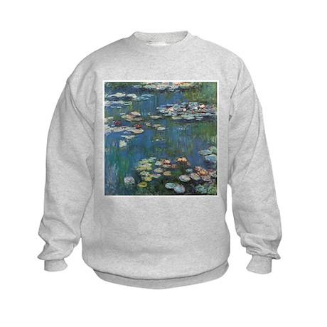 Waterlilies by Claude Monet Kids Sweatshirt