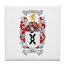 Mills Family Crest Tile Coaster