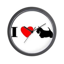 I Heart Scottish Terrier Wall Clock