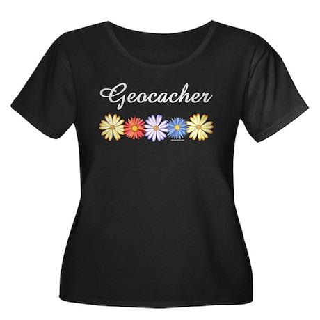 Geocacher Asters Women's Plus Size Scoop Neck Dark