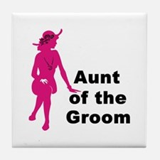 Silhouette Aunt of the Groom Tile Coaster