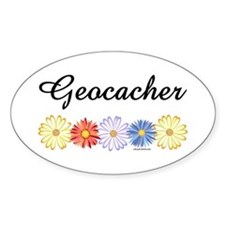 Geocacher Asters Oval Decal