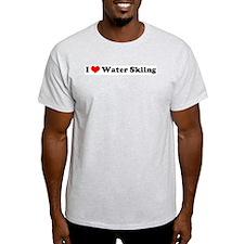 I Love Waterskiing Ash Grey T-Shirt