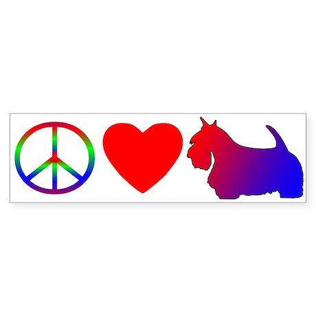 Peace Love Scottish Terrier Bumper Sticker