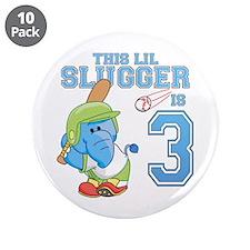 "Elephant 3rd Birthday Slugger 3.5"" Button (10 pack"